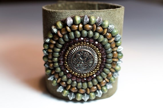 Leather Cuff Bracelet with Copper, Wood Beads, Glass beads, Metal Beads