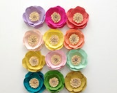 Paper Flowers {set of four, your choice of colors}