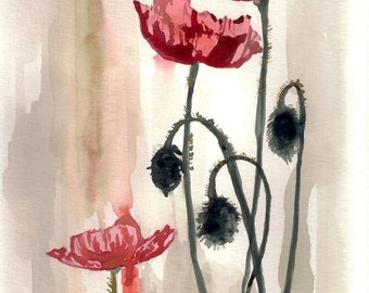 """Poppies Print on Watercolor Paper 6"""" x 8"""""""