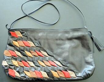 Paolo del Lungo Leather Purse/ Handbag/ Pocketbook Made in Italy Punk/ Rocker Skinny Strap