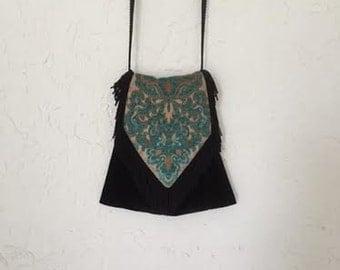 Hippie, Boho Bag Black Velvet with Drawstring Bohemian Hipster Crossbody Purse Handbag