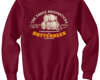 Harry Potter SweatShirt Butterbeer Crewneck. Cotton Burgundy Fleece Sweatshirt. Have A Butterbeer At The Three Broomsticks. Great at Comicon