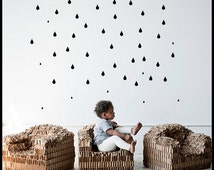Raindrop Wall Decal / 52 Raindrop Wall Sticker / Pattern Wall decal / Nursery decal / Office Decal / Kitchen Decal / gift