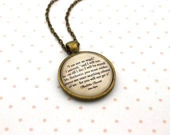 Jane Eyre, 'I Am Not An Angel', Charlotte Brontë Quote Necklace or Keychain