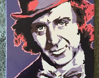 Gene Wilder - Willy Wonka and the Chocolate Factory Hand Painted Pop Art Canvas