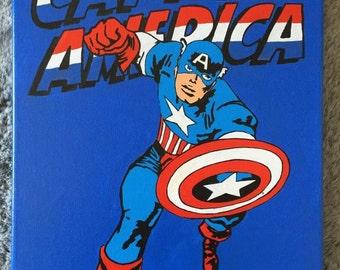Captain America - Hand Painted Comic Book Pop Art Canvas