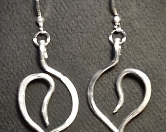 Feather Weight Hammered Wire Earrings-Leaf