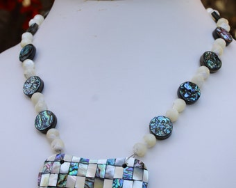 Abalone and Faceted Mother Of Pearl with Inlay Pendant