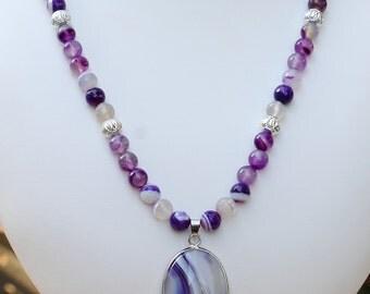 Purple Striped Agate Necklace