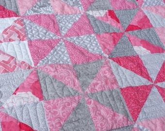 Pink and Grey Pinwheel baby girl quilt
