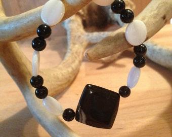Black Quartz Beaded Bracelet