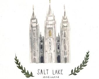 Salt Lake LDS Temple Watercolor Original Painting