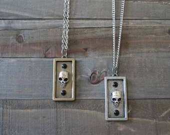 Skull Jewelry for Men - Silver & Brass - Skull Jewelry - Halloween Necklace