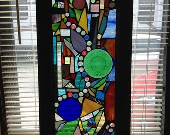 Abstract Art Glass Mosaic Window Wall Hanging