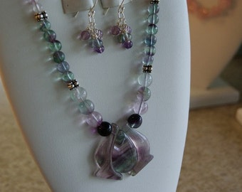 Flourite beaded necklace with pendant  - 2