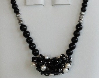 Onyx and pearl necklace  -  15