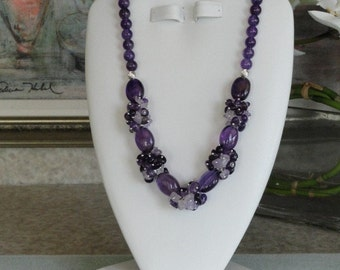 Amethyst beaded necklace  -  33