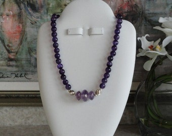 Amethyst beaded necklace  -  37