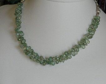 Green Mystic Quartz beaded necklace  -  56