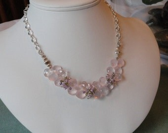 Pink Rose Quartz beaded necklace  -  63