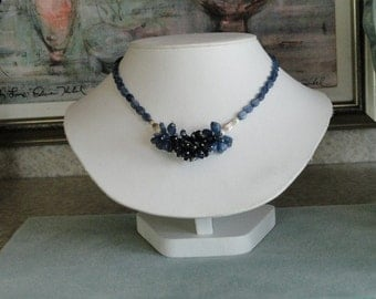 Kyanite and Iolite beaded necklace  -  64