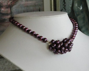 Plum color Pearl beaded necklace  -  87