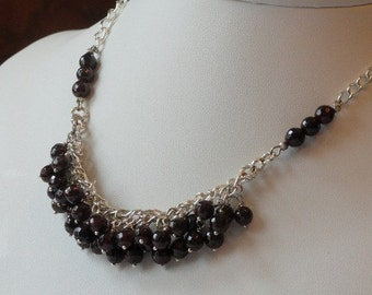 Dark red Garnet beaded necklace  -  103