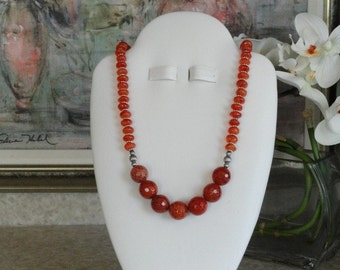 Carnelian and Agate beaded necklace  - 12