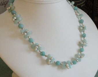 Amazonite beaded necklace with tiny pearls  -  11