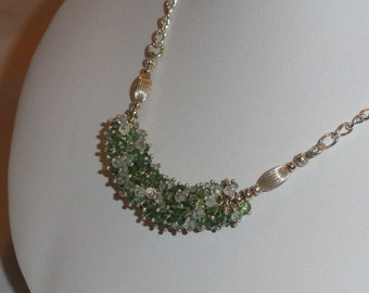 Aquamarine and Emerald beaded necklace  -  129