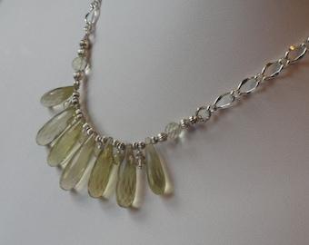 Lemon Quartz  fan beaded necklace  -  130