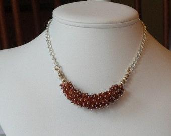 Garnet beaded necklace  -  135