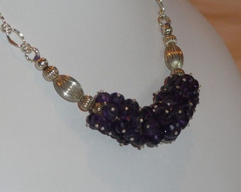 Deep Purple Amethyst beaded necklace  -  148