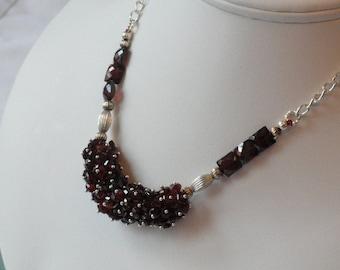 Garnet beaded necklace  -  160