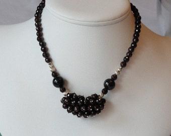 Garnet beaded necklace  -  162