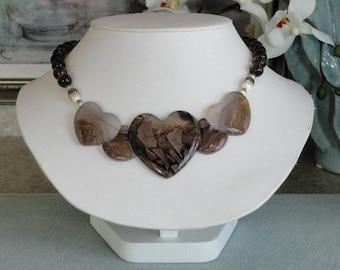 Smokey Quartz beaded necklace with Large Agate Pendant  -  165