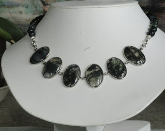 Green Moss Agate beaded necklace with Moss Agate Pendant  -  176