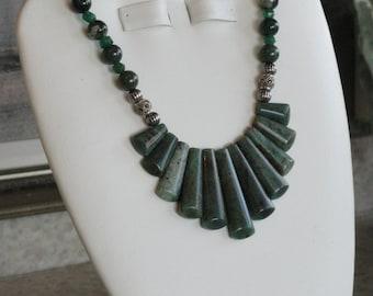Green Aventurine beaded Fan necklace  -  186