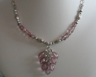 Pink Amethyst & Pink  Mystic Quartz beaded necklace  -  201