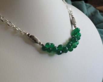 Green Onyx beaded necklace  -  206