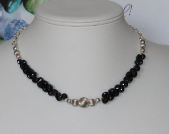 Black Spinel beaded necklace  -  212
