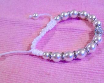 Gorgeous White Shambala Bracelet Adorned with Rhinestone and Pearl White Beads