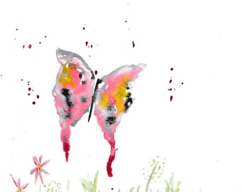 Butterfly PRINT, Butterfly nursery decor, nursery print, nursery art, watercolour print, butterfly, pink butterfly, pink decor