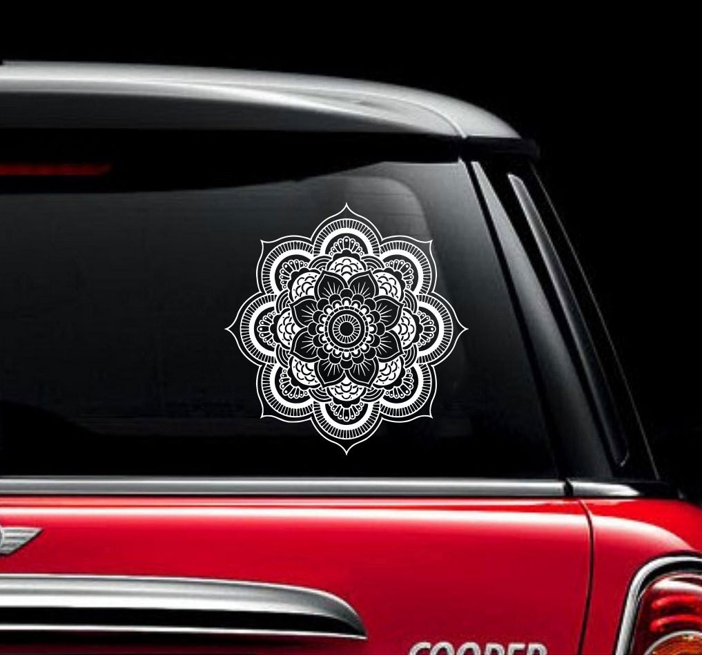 Car mirror sticker design - Mandala Car Decal Vinyl Sticker Decals Car Decal Sticker Window Truck Decal Stickers Lotus Flower Car Decal Zx1