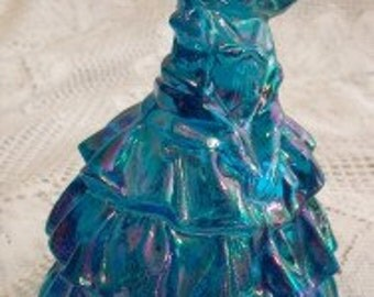 Beautiful Vintage Iridescent Blue Carnival Glass Southern Belle Figurine