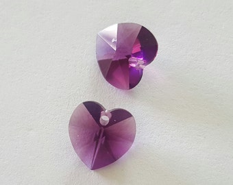 10mm Amethyst Swarovski Crystal Hearts, Crystal Heart, Purple Heart Pendant