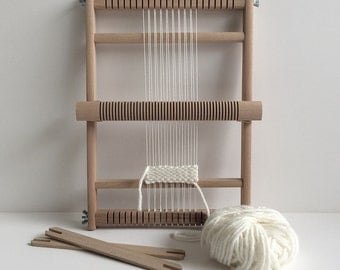 Weaving Loom 'S' with heddle bar, stand (optional) and rotating warp bars / Frame Loom / Weefraam