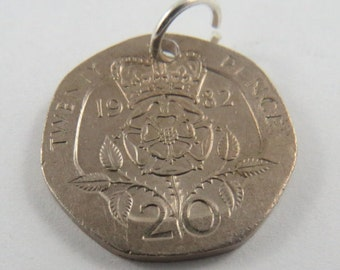 1982 20 Pence Great Britain Pendant or Charm.
