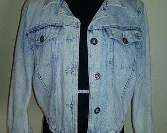 80's Stonewashed Denim - Bolero Style Jacket - Size M.-Free Shipping!