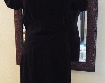 1960's - Ivan Frederick's Black Dress Excellent Condition! Aprox. Size 12-Free Shipping!